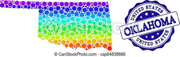Mapa arcoiris del estado de Oklahoma y sello de sello grunge - csp64838886