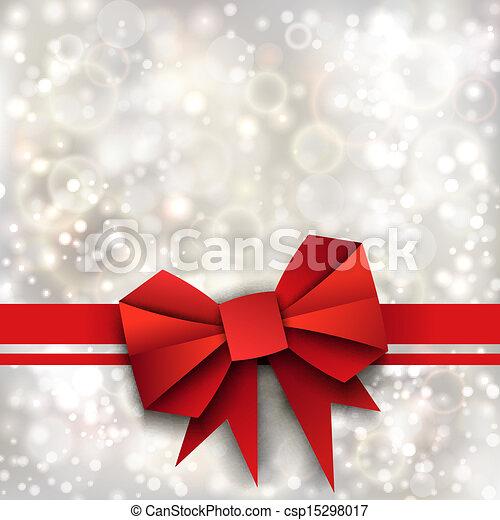 Regalo de papel rojo arco y cinta a fondo plateado - csp15298017