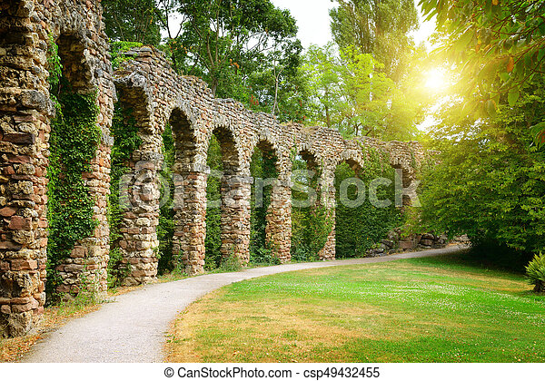 arco, pietra, parco, alba - csp49432455