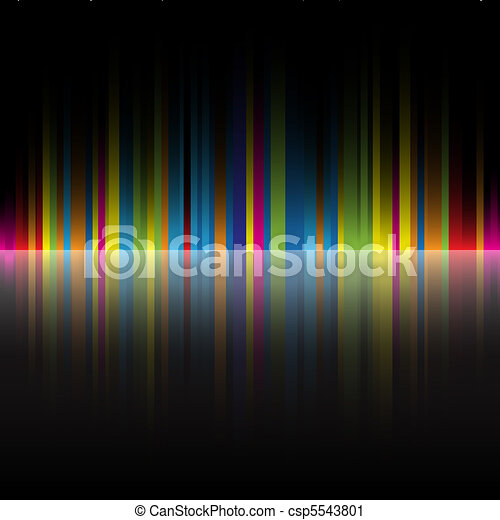 arcobaleno, astratto, nero, colori, fondo - csp5543801