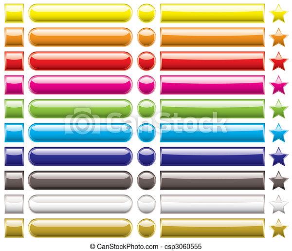 arcobaleno, bottone, collezione - csp3060555