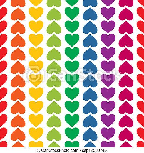 arcobaleno colorato, modello, seamless, vettore, cuori, come - csp12500745