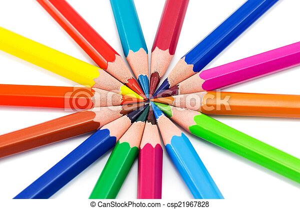 arcobaleno, colorito, fondo, matite - csp21967828