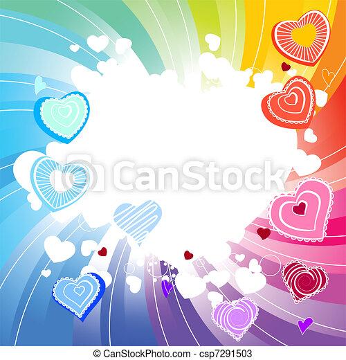 arcobaleno, many-coloured, fondo, turbine, cuori, contorno - csp7291503