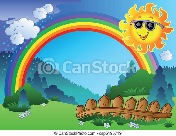 arcobaleno, paesaggio, sole - csp5195719