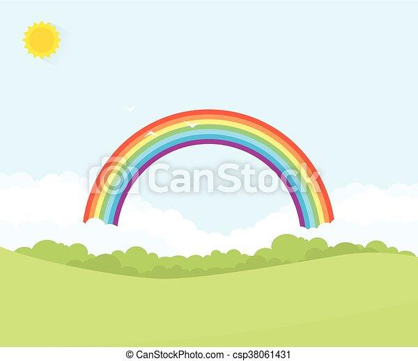 arcobaleno, paesaggio - csp38061431