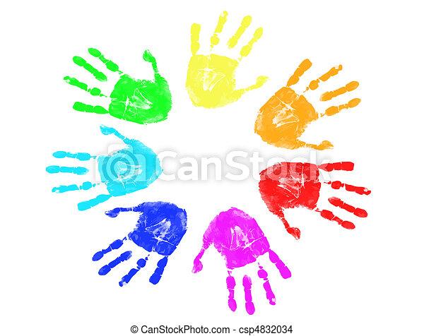 arcobaleno, stampe, mano - csp4832034