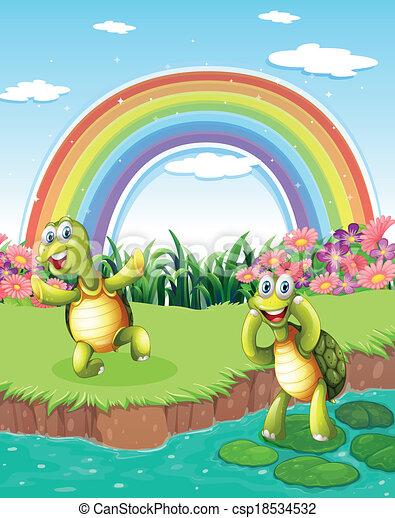 Arcobaleno tartarughe cielo due giocoso stagno for Stagno tartarughe
