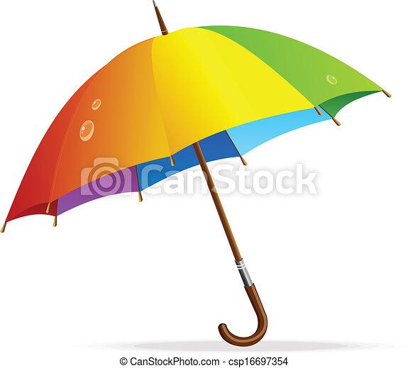 arcobaleno, vettore, ombrello, isolato - csp16697354