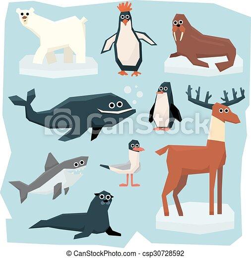 Arctic and antarctic animals, fish set. Vector set of ...
