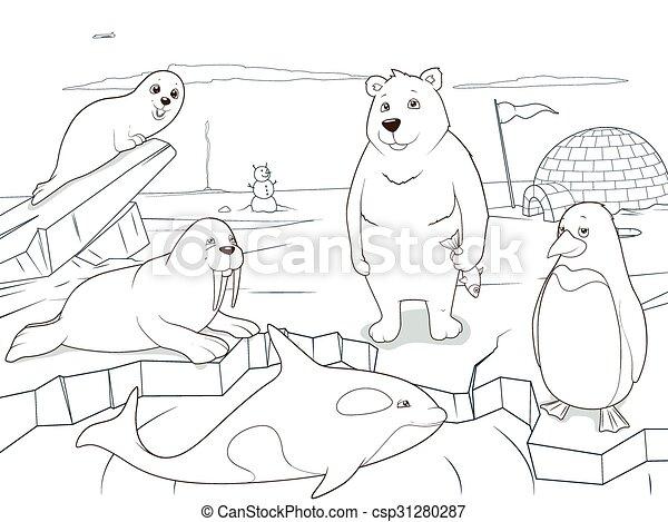 Arctic animals coloring book educational game - csp31280287