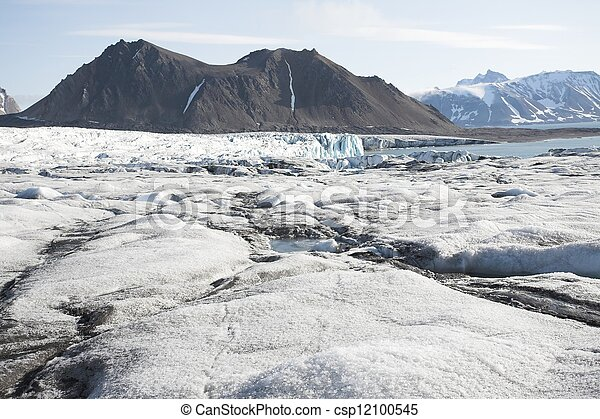 Arctic landscape with glaciers and mountains - csp12100545