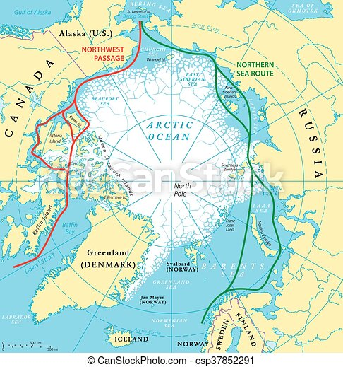 EPS Vectors Of Arctic Ocean Sea Routes Map Arctic Ocean Sea - Norway map eps