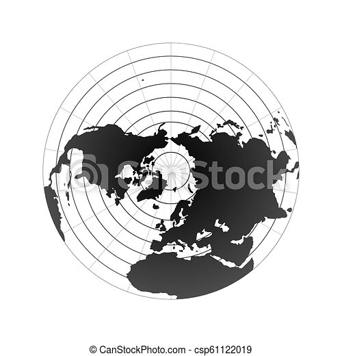 Arctic pole globe hemisphere. World map view from space isolated on white - csp61122019