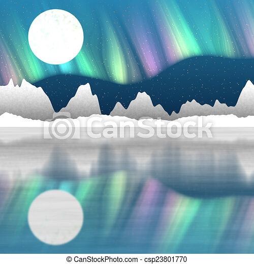 Arctic pole landscape generated hires background - csp23801770