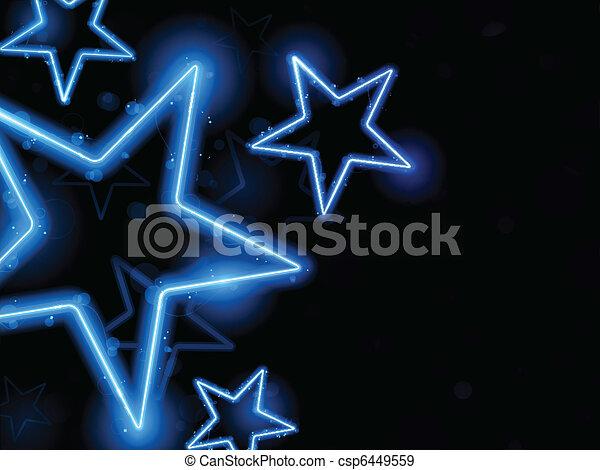 ardendo, neon, stelle, fondo - csp6449559