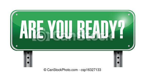 are you ready road sign illustration design - csp16327133