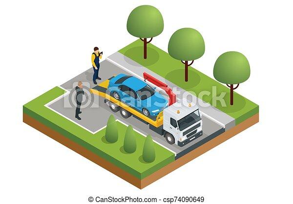 area., csereüzlet, szükséghelyzet, büntetés, hibázik, szállítás, feláll, csereüzlet, isometric, autó, országúti, kóc, segítség, cars., csipeget - csp74090649