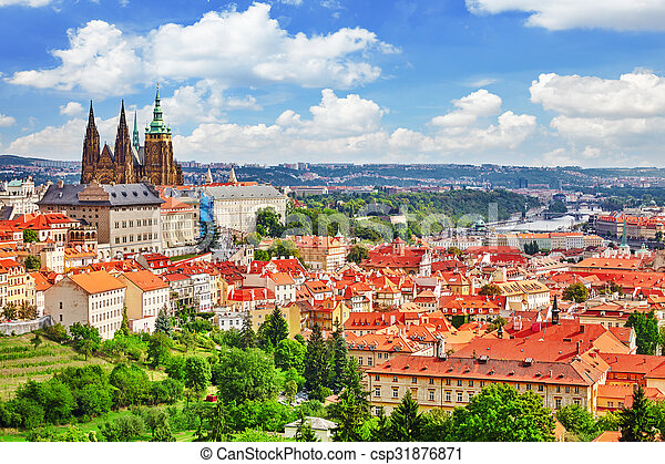 Area Lesser Town of Prague, near the church Saint Vitus, Ventseslaus and Adalbert. Czech Republic. - csp31876871