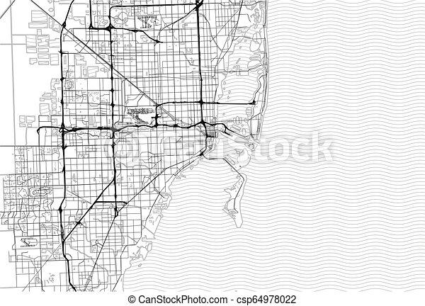 Area map of Miami, United States - csp64978022