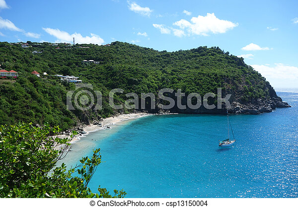 Areal view at Shell beach, St. Barth - csp13150004