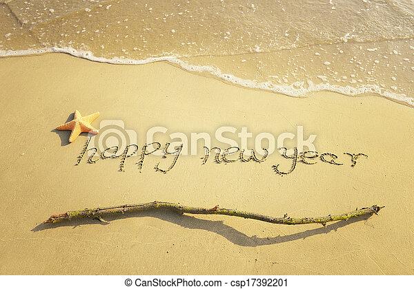 areia, ano, novo, mensagem, praia, feliz - csp17392201
