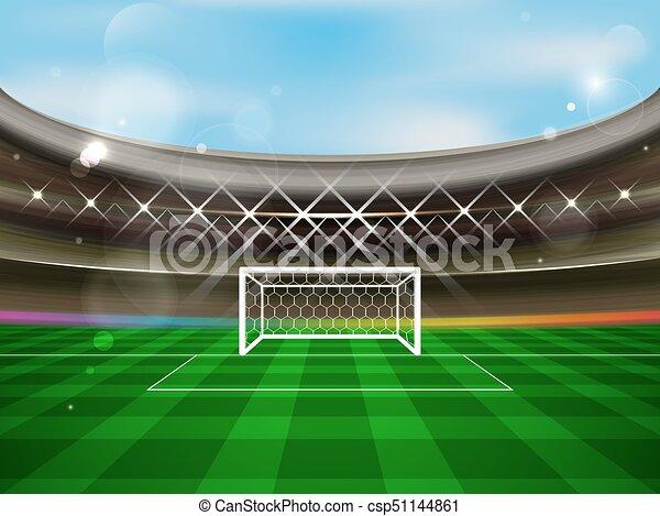 arena, meta futebol, banner., holofotes, futebol, grass., vetorial, verde, estádio, rede, tribunes - csp51144861