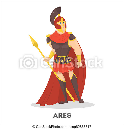 Ares ancient greek god with shield. Olympian mythical - csp62865517