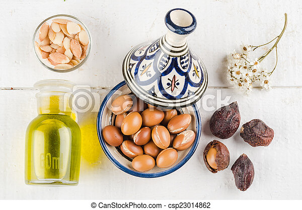 Argan fruit in a moroccan tajine - csp23014862
