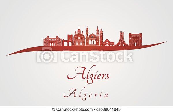 Skyline Argel en rojo - csp39041845