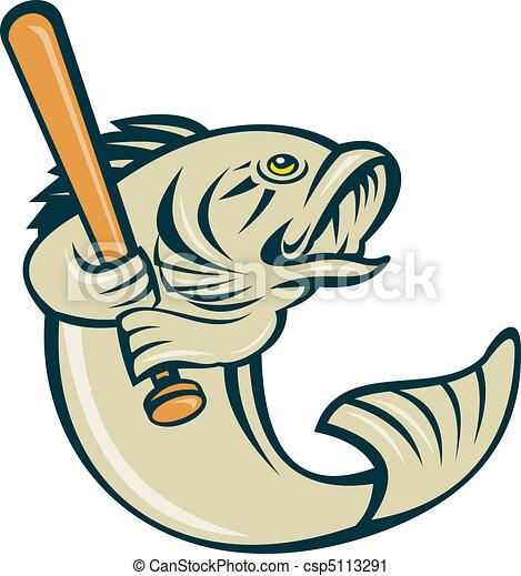 Argemouth Bass Fish Playing Baseball Stock Illustration