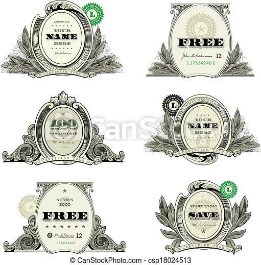 argent, écusson, logo, ensemble, vecteur - csp18024513