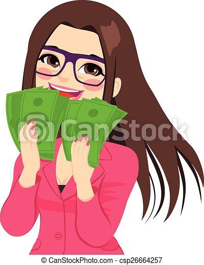 argent, apprécier, femme affaires - csp26664257