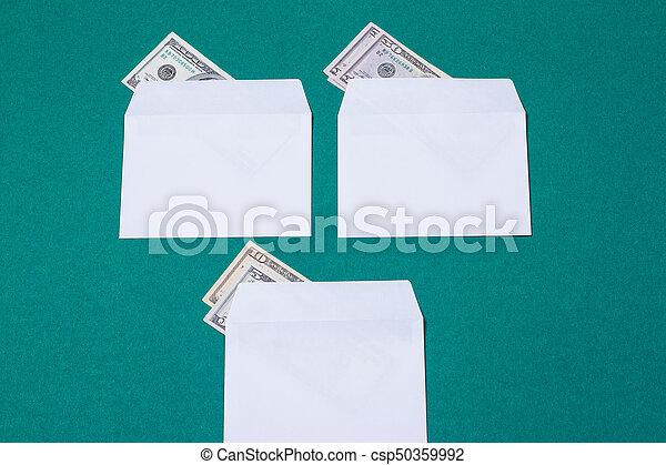 argent, blanc, trois, enveloppes - csp50359992