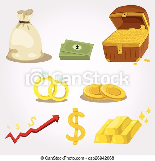 argent, ensemble, illustrateur, icône - csp26942068