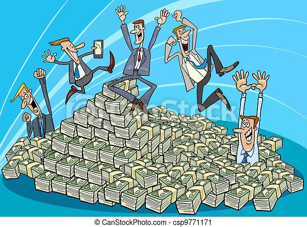 argent, hommes affaires, tas, heureux - csp9771171