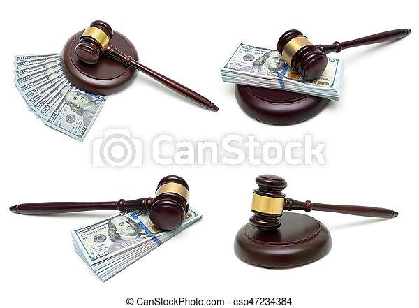 argent, isolé, fond, juge, blanc, marteau - csp47234384