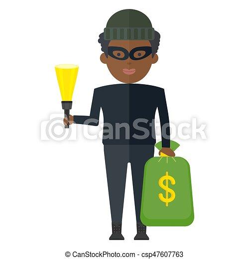 argent, noir, voleur, sac - csp47607763