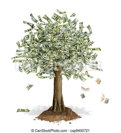 argent, notes, dollar, leaves., arbre, endroit, nous, banque - csp9400721