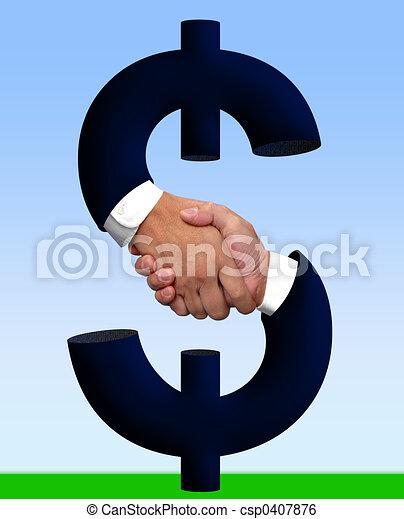 argent, poignée main, signe - csp0407876