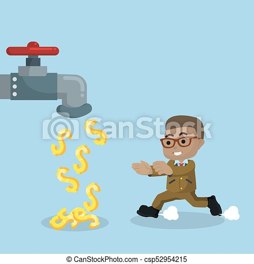 argent, robinet, africaine, homme affaires - csp52954215