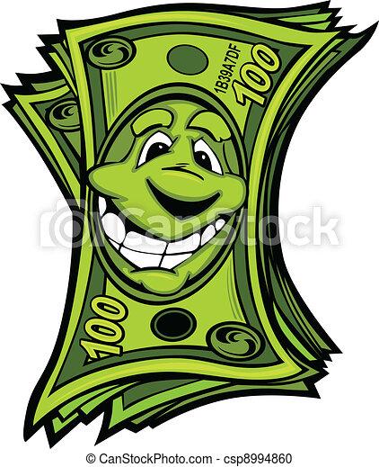argent, vecteur, dessin animé, facile, heureux - csp8994860