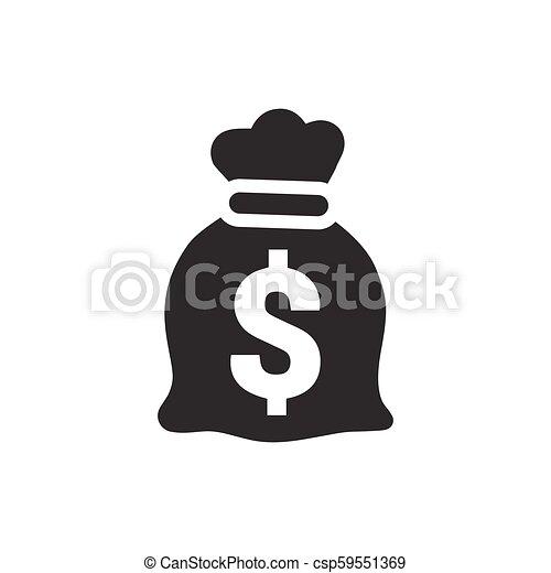 argent, vecteur, sac, icône - csp59551369