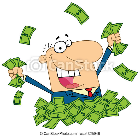 argent, vendeur, tas, jouer - csp4325946