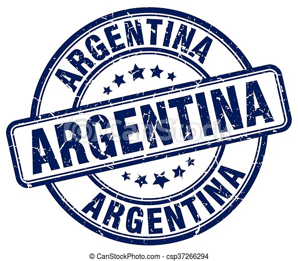 Argentina blue grunge round vintage rubber stamp - csp37266294
