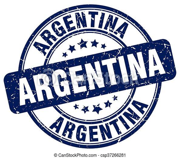 Argentina blue grunge round vintage rubber stamp - csp37266281