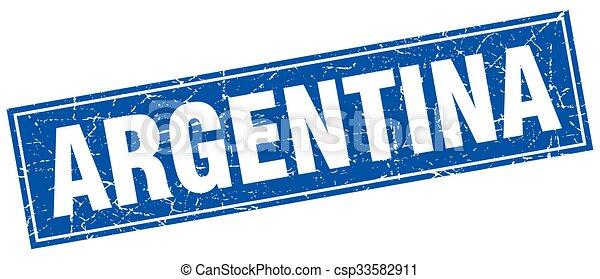 Argentina blue square grunge vintage isolated stamp - csp33582911