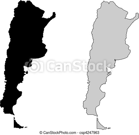 Vectors Of Argentina Map Black And White Mercator Projection - Argentina map black and white