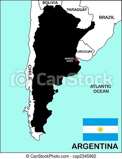 Argentina Map Black Political Map Of Argentina Country With Flag