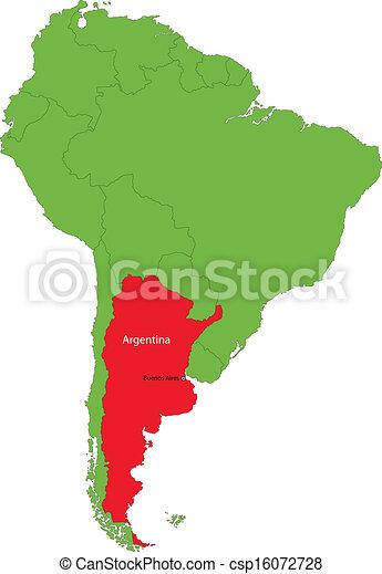Vector Illustration Of Argentina Map Location Of Argentina On - Argentina map vector